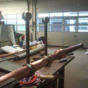 Restaurierung von Bauornamenten / Klempnermanufaktur: Kugeln mit Wetterfahne JVA Ebrach
